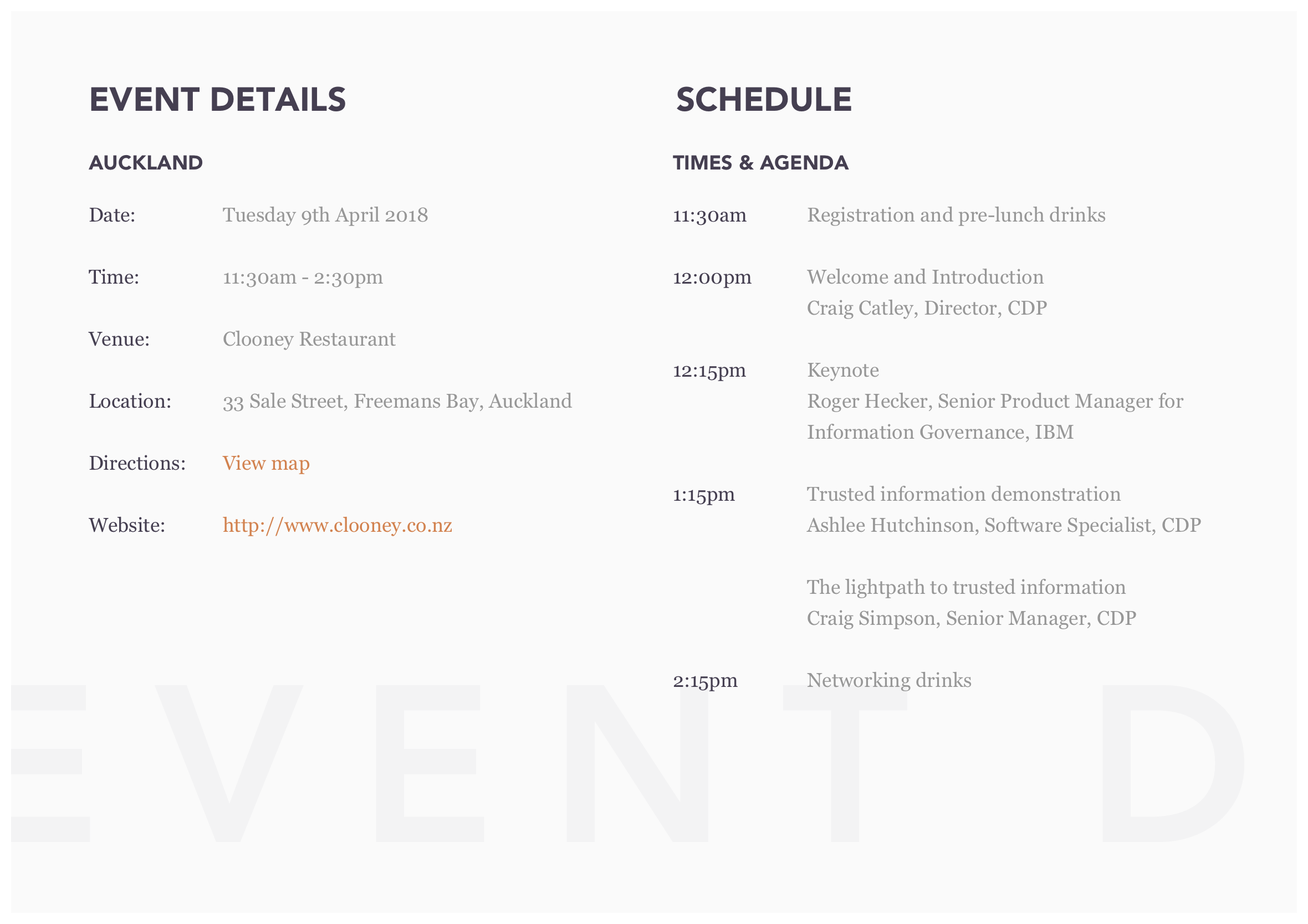 CDP executive lunch invitation event details and schedule