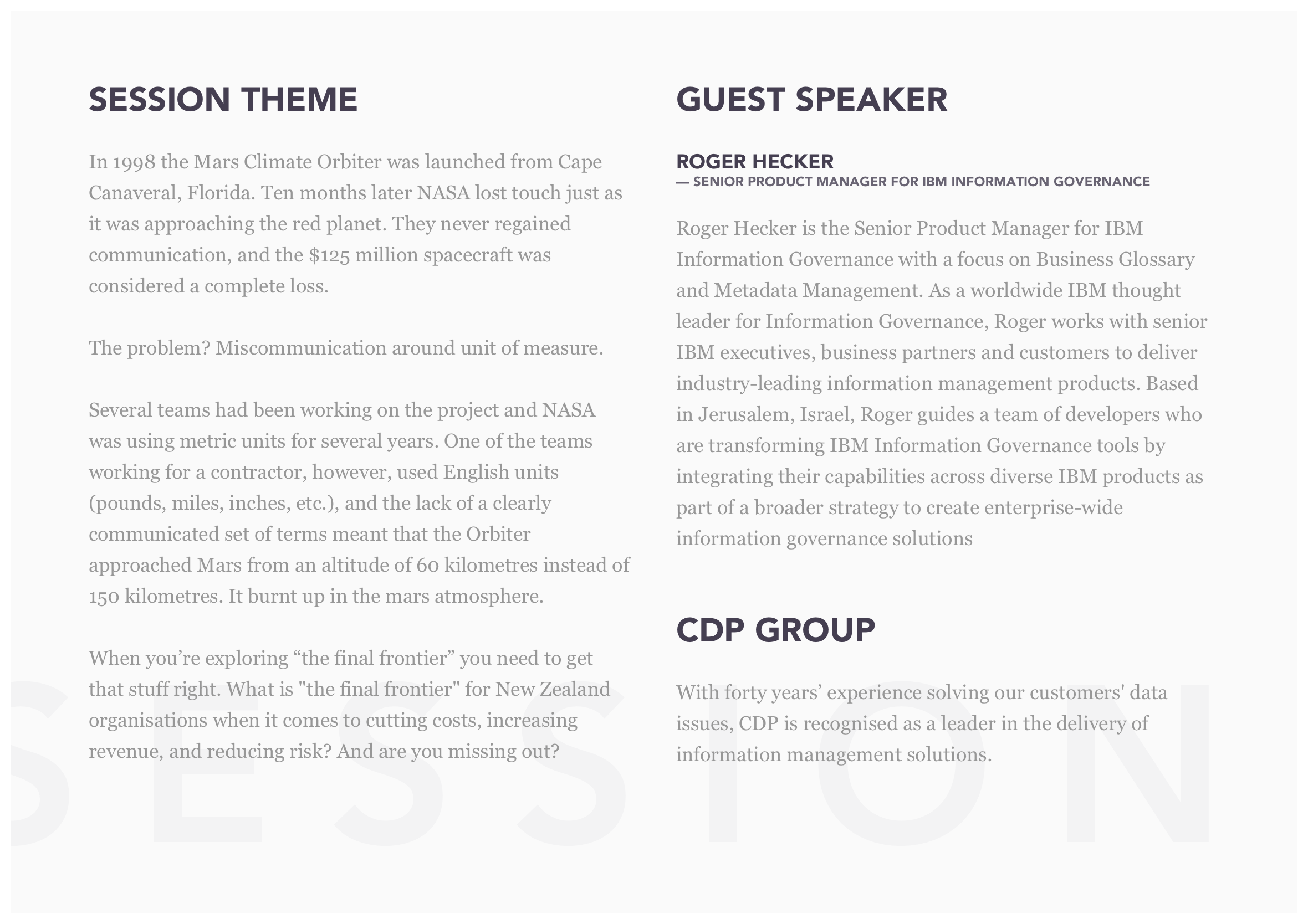 introducing a guest speaker template - cdp executive lunch invitation v2 user experience