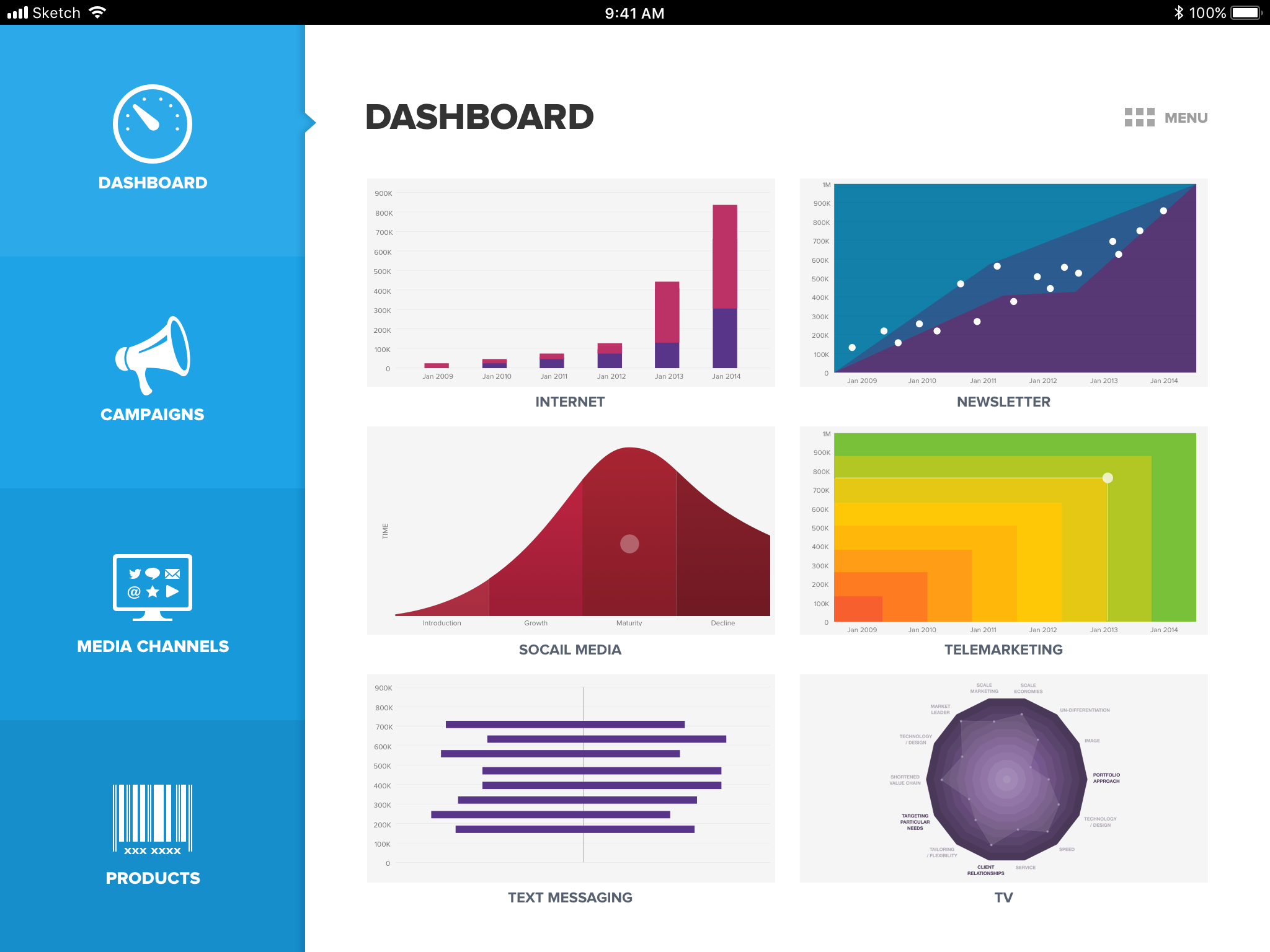 Social marketing dashboard main dashboard graphs previews