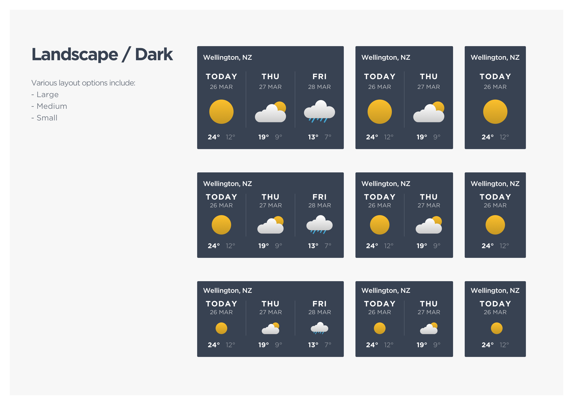 Weather OnDemand dashboard reponsive layout options