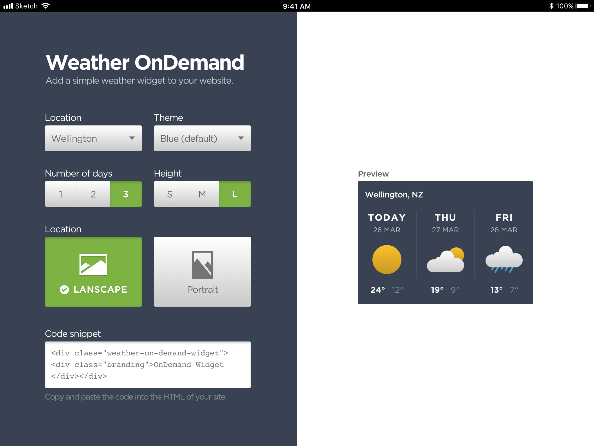 Weather OnDemand dashboard
