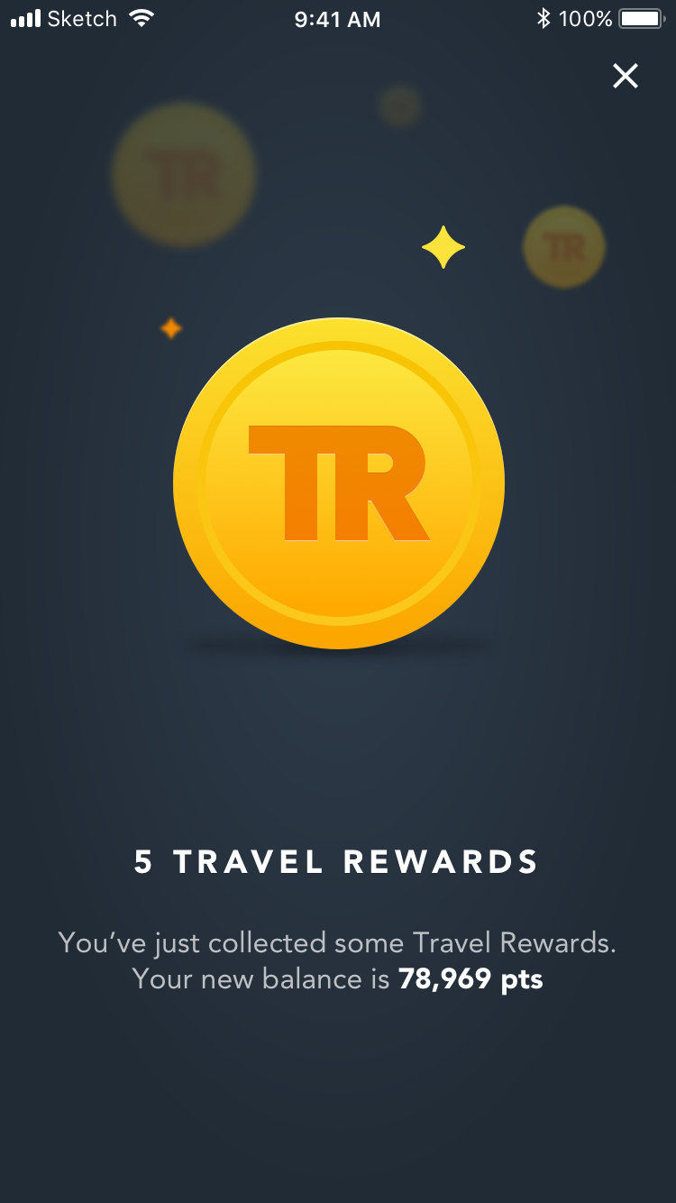 Travel rewards app points collected