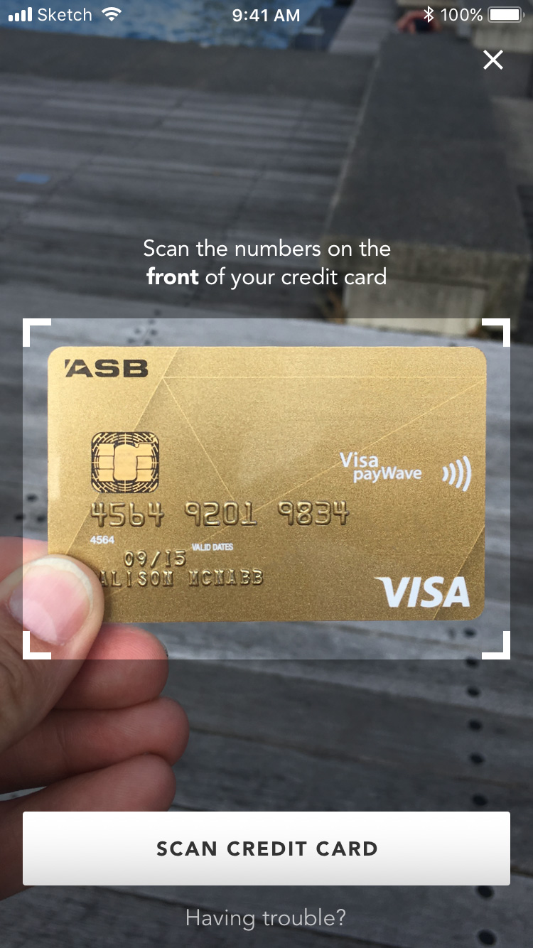 Travel rewards app credit card scanner