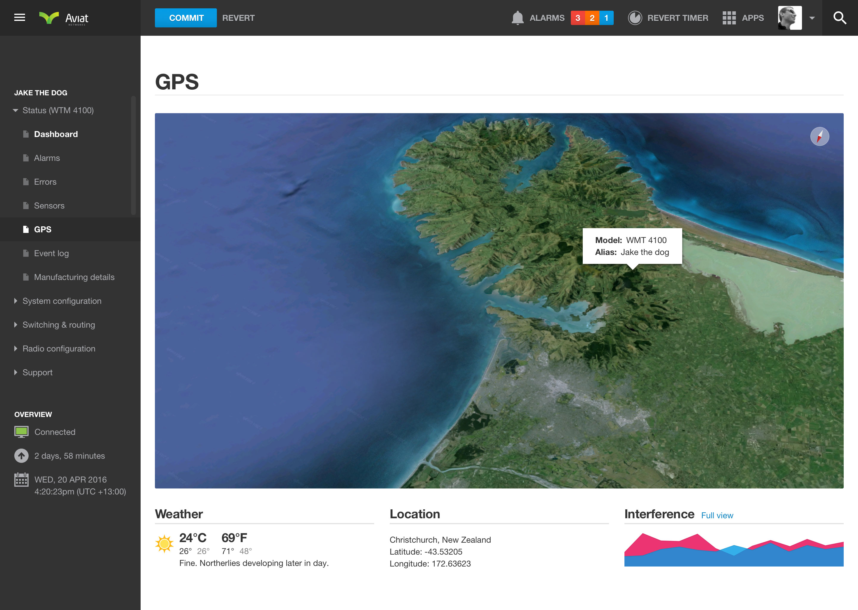 Networking dashboard GPS
