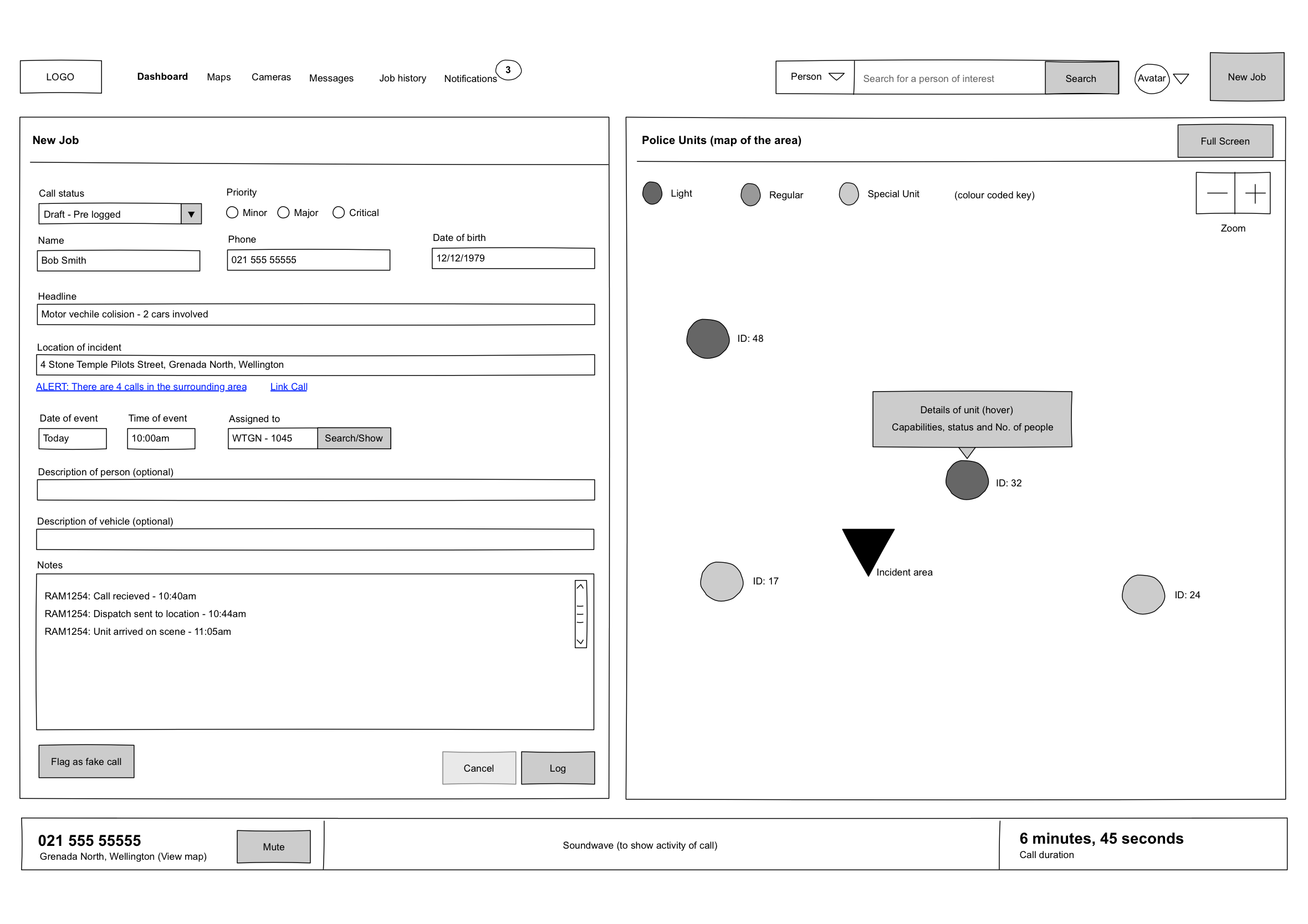 Police Dispatch dashboard wireframe call-taking