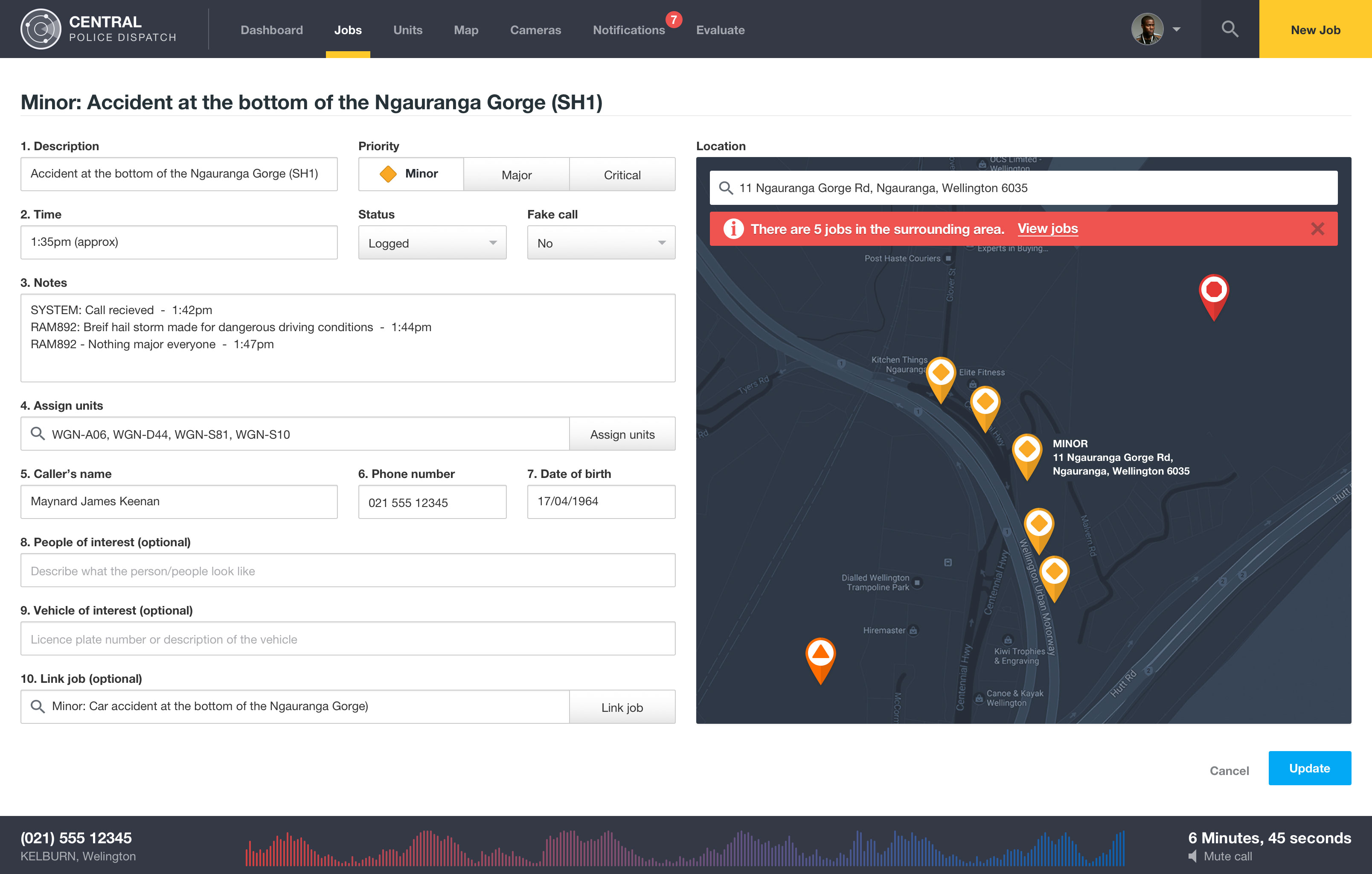 Police dispatch dashboard jobs with alerts