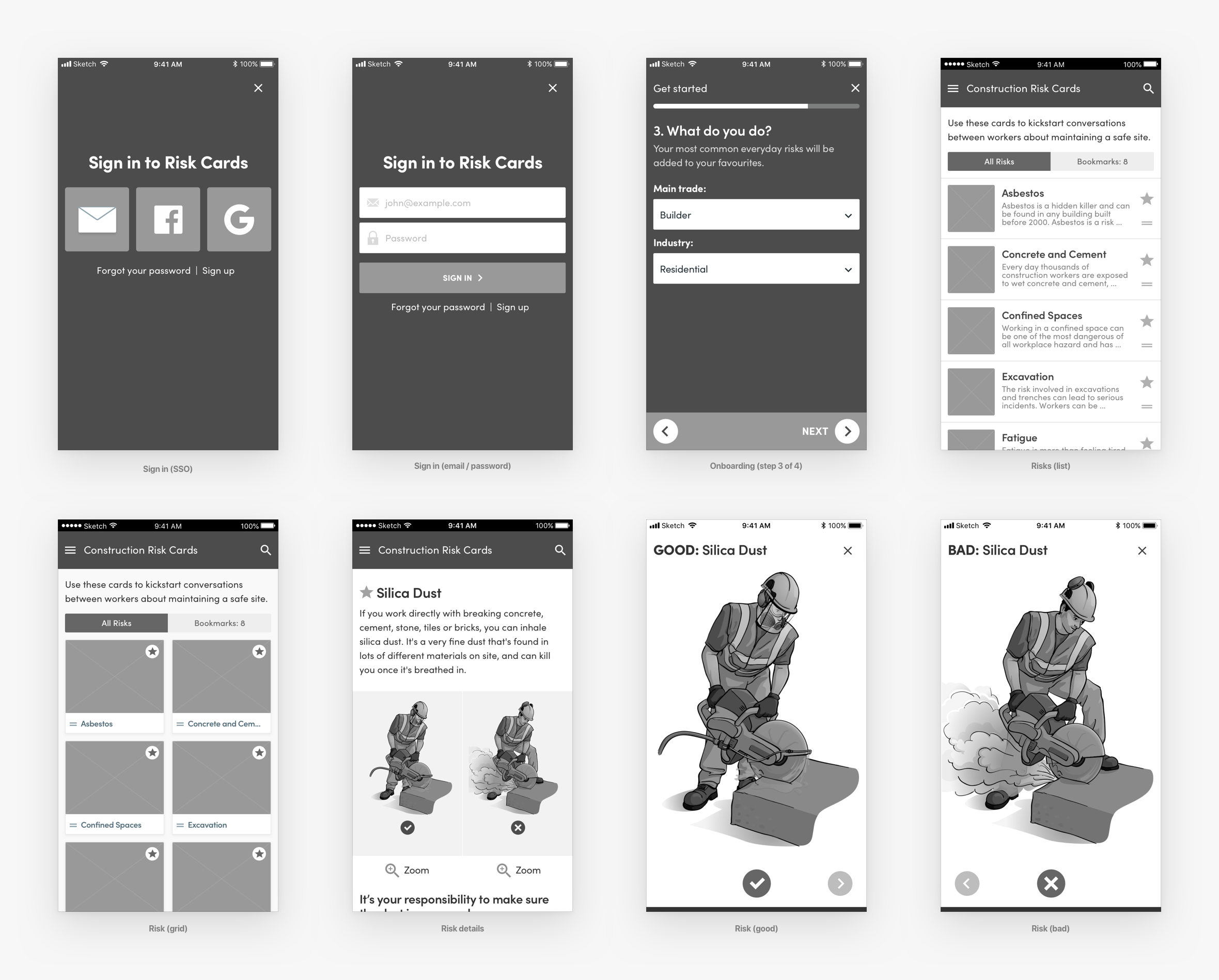 health-and-safety-app-wireframes