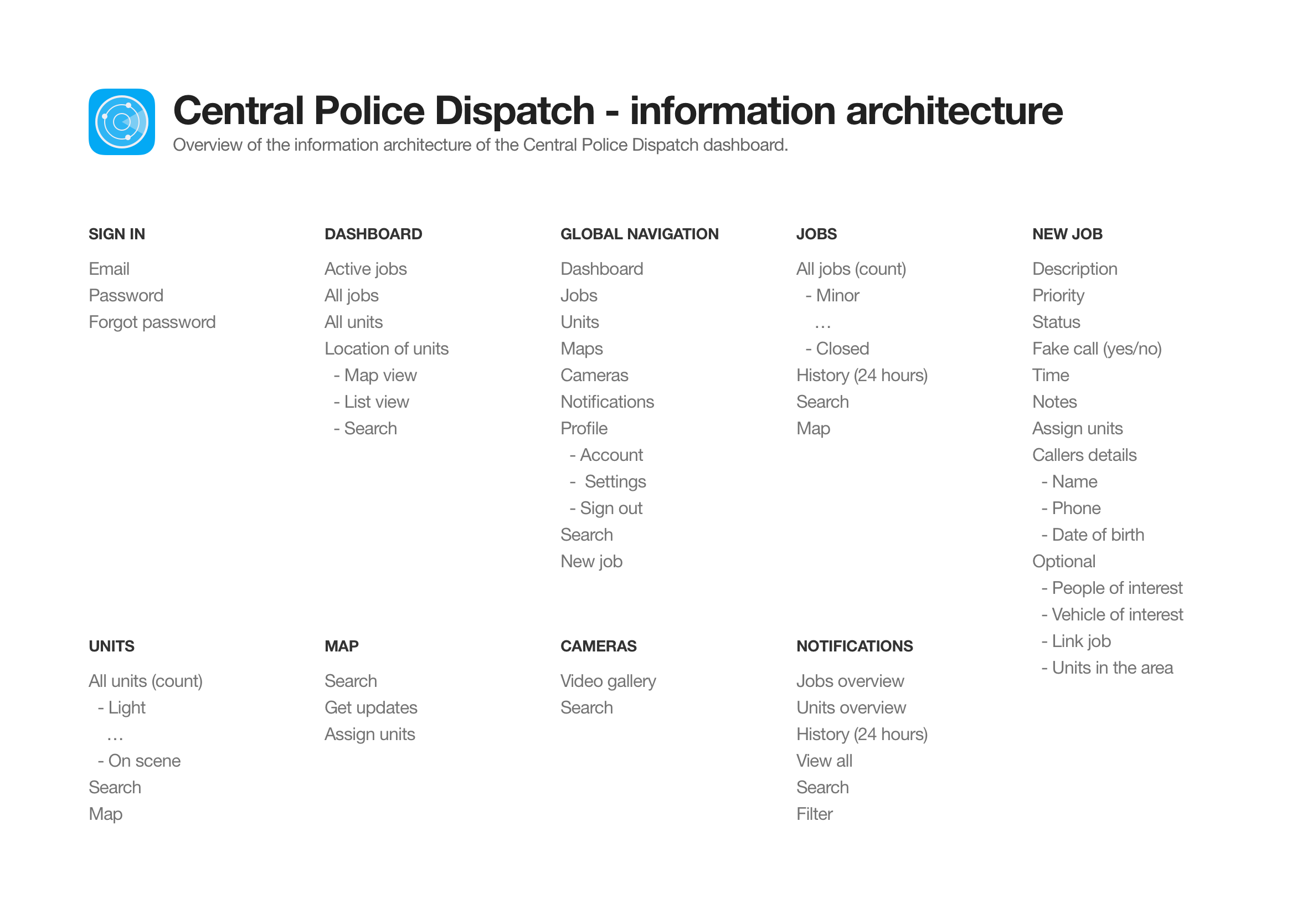 police-dispatch-information-architecture