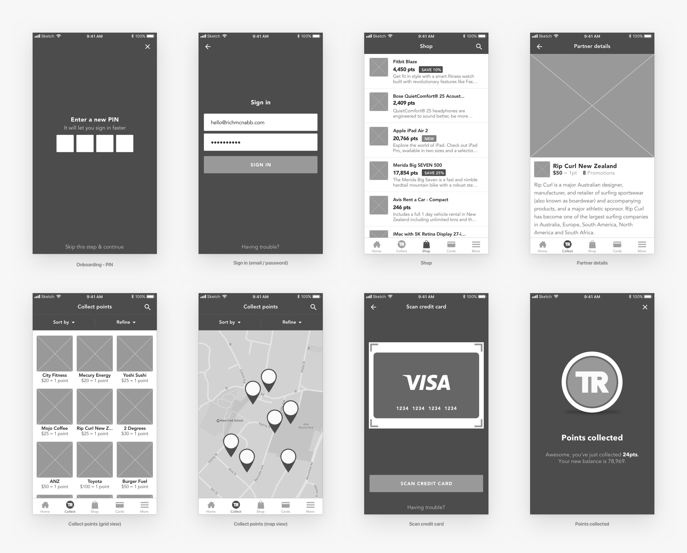 travel-rewards-wireframes