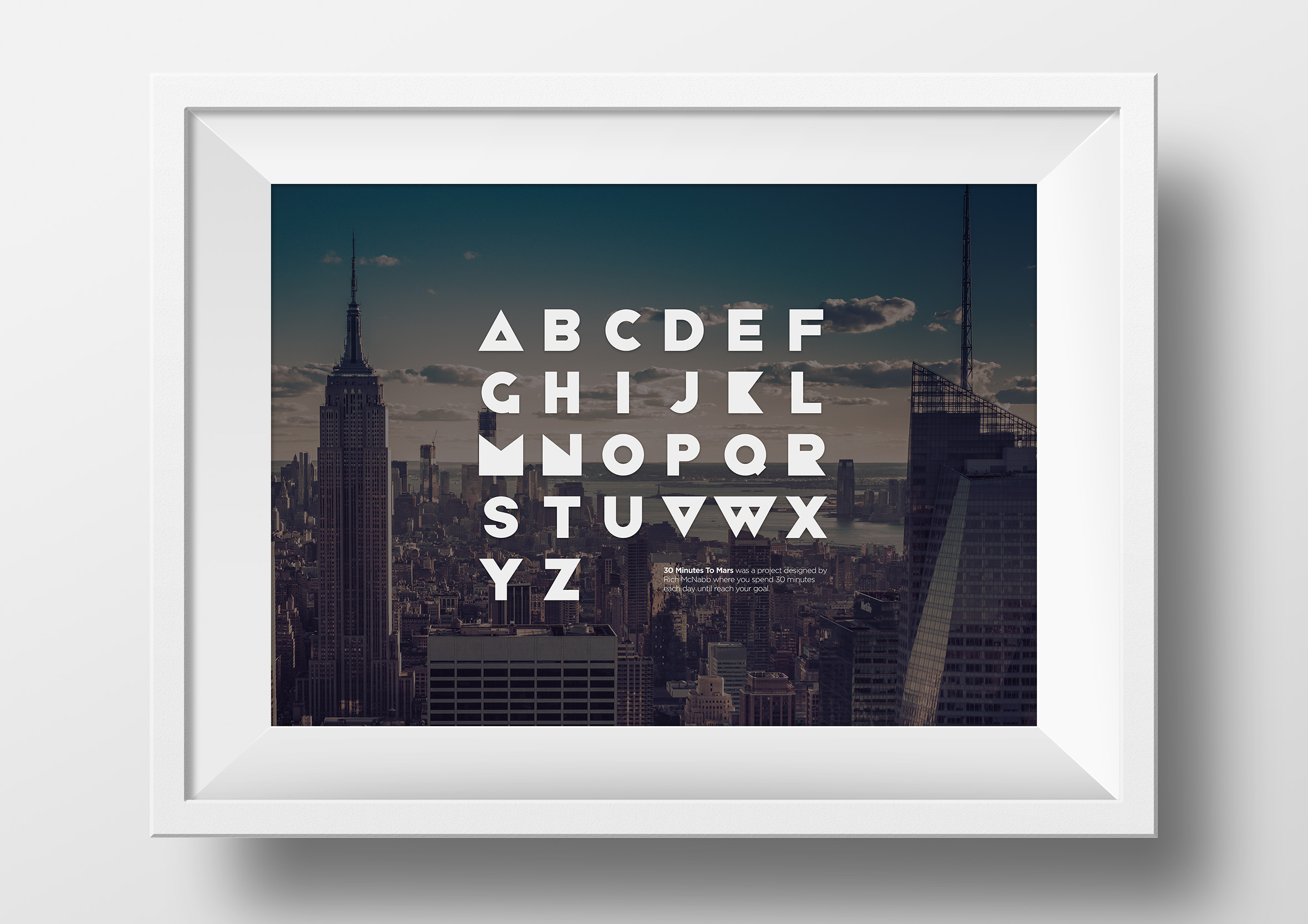 30 Minutes to Mars free font framed dark