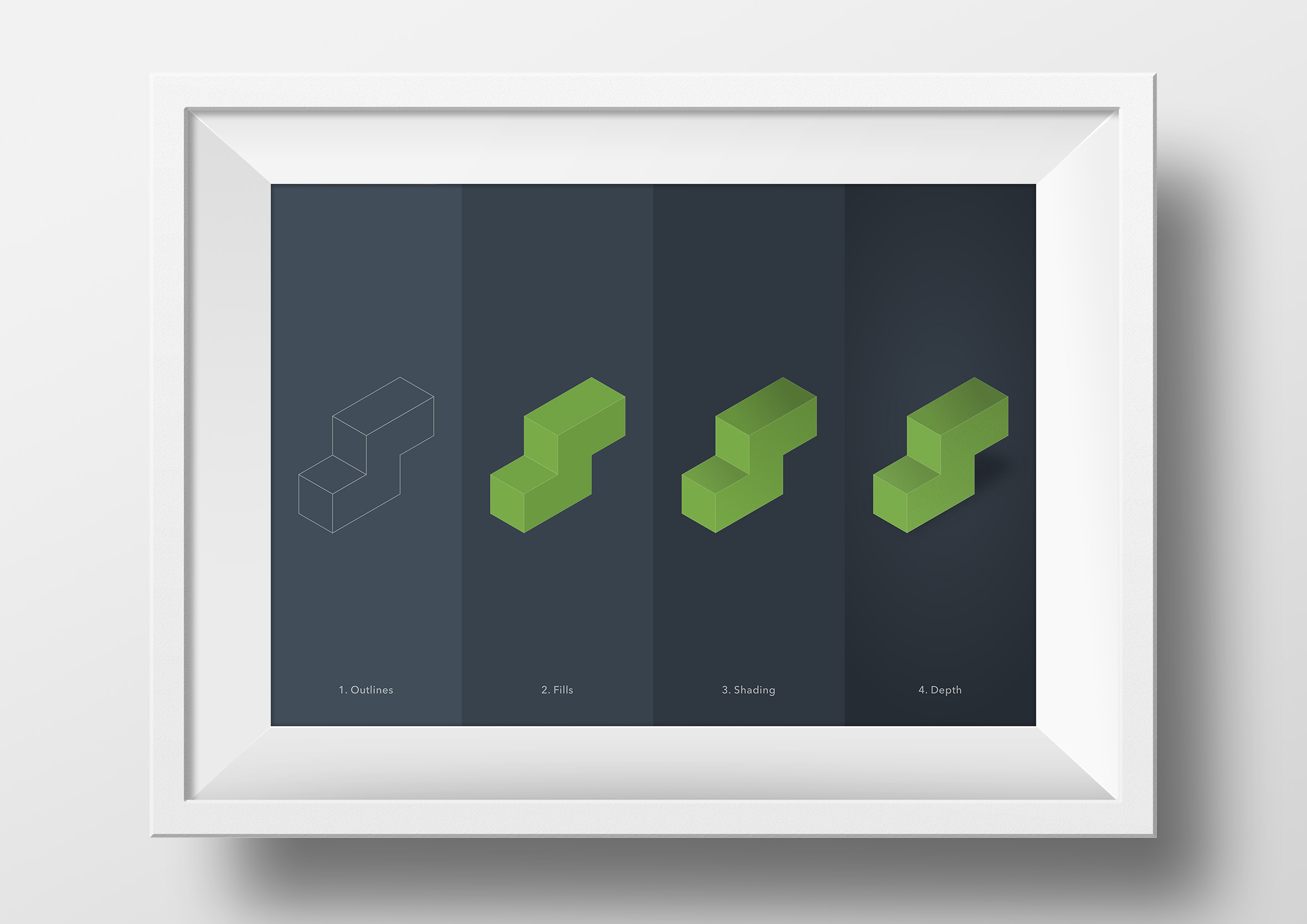 isometric cubes illustration process framed