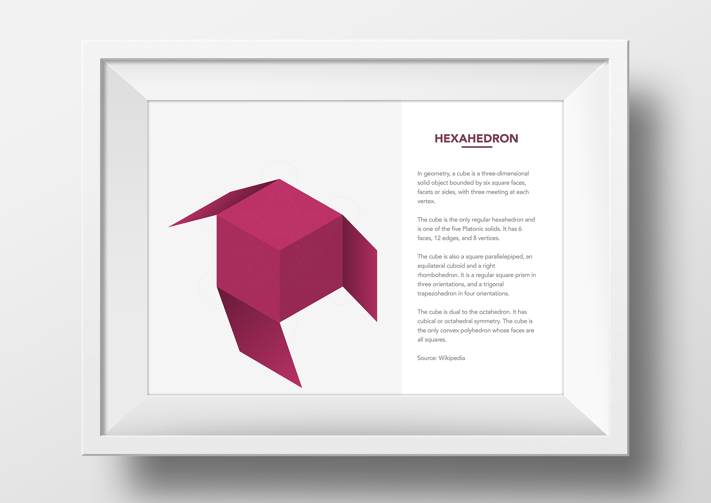 metatrons cube origami app single framed print hexahedron